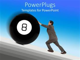 Amazing presentation consisting of a professional holding the eight ball with bluish background