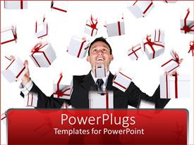 Beautiful PPT theme with a professional with a lot of gift hampers