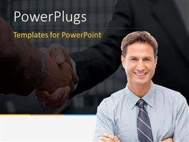 Colorful presentation theme having proud businessman posing in front and handshake in background