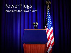 Slide deck featuring pulpit set for press conference with blue curtain background