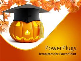 Elegant PPT layouts enhanced with pumpkin Halloween graduation cap on a white and yellow background