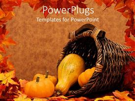 PPT layouts enhanced with pumpkins and gourds falling out a basket on brown background with frame of autumn leaves, fall harvest scenery