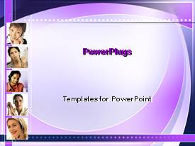 PPT theme with purple abstract background with business women, customer service