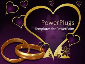 Colorful presentation theme having purple background with love symbols gold rings, and two lovers