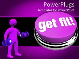 Presentation design with purple get fit button with purple human holding dumbbell weights, exercise, fitness