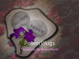 Presentation theme enhanced with purple flowers and two pebbles with text that spell out the words