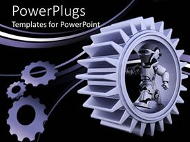 Amazing slides consisting of purple gear mechanism with robot and bended lines on black background