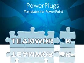 PPT theme enhanced with puzzle pieces with Teamwork in front of pile of hands