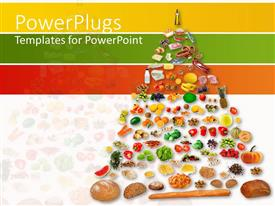 PPT theme with pyramids of fruits and vegetables