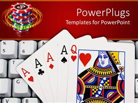 Elegant presentation design enhanced with queen of hearts and four aces lying on computer keyboard in front of stack of casino chips, online gambling