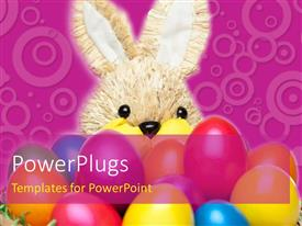PPT layouts enhanced with a rabbit with a lot of colorful balloons and purple background