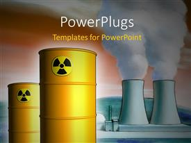 PPT theme featuring radioactive waste from a nuclear power plant