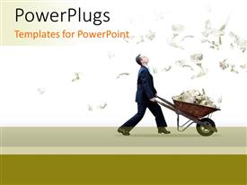 Elegant PPT theme enhanced with rain of dollar bills with business man pushing a barrow filled with money