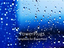 Elegant PPT layouts enhanced with rain drops on widow pane with blue background