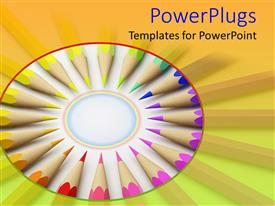 Presentation theme featuring rainbow colored pencils arranged in a circle