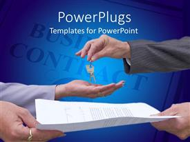 Elegant PPT theme enhanced with real estate business contract with hands exchanging keys and contract