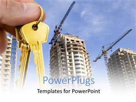 Presentation theme consisting of real estate depiction with hand holding gold key over construction site