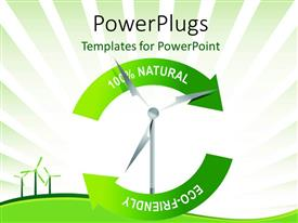 Beautiful slides with recycle wind turbine with keywords and green curves