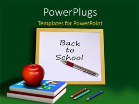 Amazing PPT layouts consisting of red apple on book pile with chalkboard on black surface