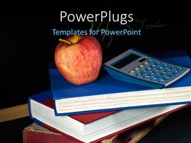 Theme having red apple and calculator on pile of books over black background