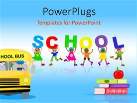 Theme featuring red apple on pile of books with school bus and happy kids