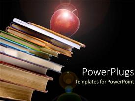 Colorful PPT layouts having red apple on pile of textbooks education black background