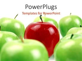 Audience pleasing PPT theme featuring red apple surrounded by green apples on white background
