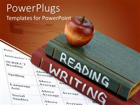 Amazing theme consisting of red apple on top of two books reading and writing on report card