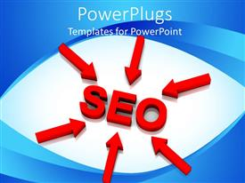 Presentation enhanced with red arrows pointing toward SEO, search engine optimization
