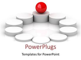 PPT theme with red ball balancing on ground circles columns metaphor center balance business