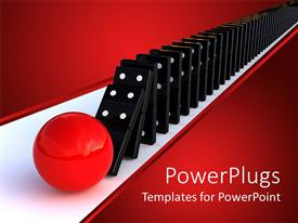 PPT theme having a red ball hitting a domino arrangement resulting in the fall of whole arrangement