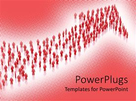 Elegant PPT theme enhanced with red bended arrow formed by figures on white and pink background