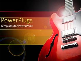 PPT theme with red and black guitar on the right side with yellow, orange and red band on black background