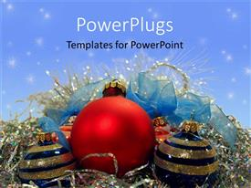 Presentation design featuring red, blue, and gold Christmas decorations