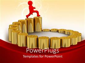 Slide deck having a red character running on an ascending stack of gold coins