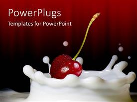 Amazing PPT theme consisting of red cherry on milk splash in dark red background