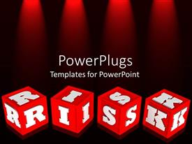 PPT theme having red colored alphabet learning blocks with white RISK text
