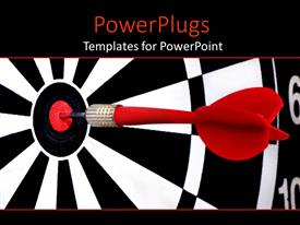 Beautiful PPT theme with red dart hitting the middle of a dart board
