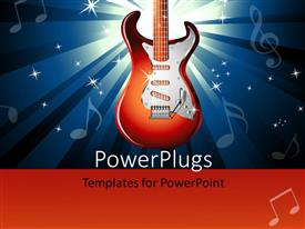 Presentation theme enhanced with red electric guitar over music themed background with music symbols