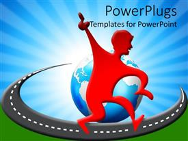 Elegant PPT theme enhanced with red figure doing victory dance on track around globe