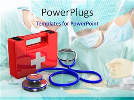 PPT theme having red first aid kit with medical doctors kitted with masks on