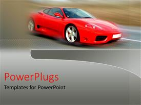 Theme enhanced with red flashy sports car with a blurry back ground