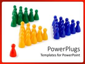 Presentation theme having red game piece leads groups of green, yellow, and blue pieces