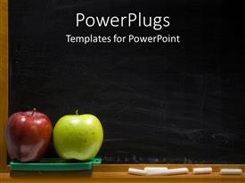 Colorful PPT theme having red and green apples for teacher with black chalk board and white chalk in old fashioned classroom