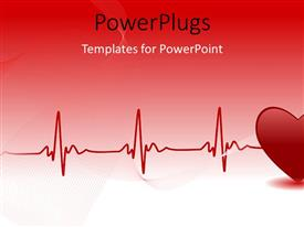 Elegant slide set enhanced with red heart and heartbeat symbol over red background