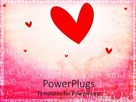 Amazing PPT theme consisting of red heart shape balloon and little red hearts  I love you words on pink background