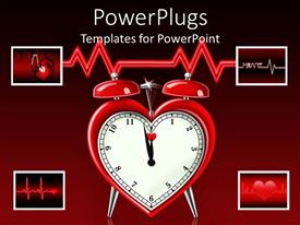Slides with a red heart shaped alarm clock on a red background