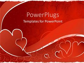 Presentation theme having red hearts with red swirl wave, red scroll background
