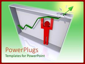 Presentation theme featuring red human figure lifting an arrow out side a box
