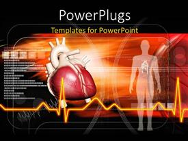 Audience pleasing PPT theme featuring red human heart with ECG waves and huan body over dark background